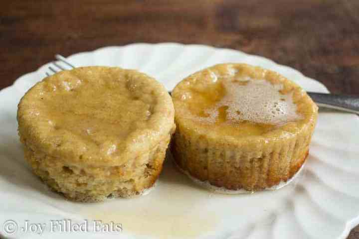 Warm Chai Pancake Muffins with glaze on a plate