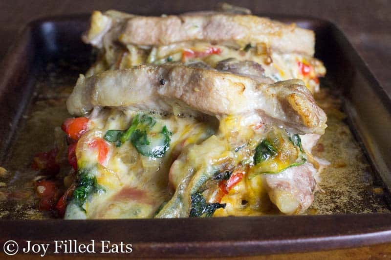 Cheesy Stuffed Pork Chops with Spinach, Peppers, & Onions - Low Carb, Grain Free, Gluten Free, THM S