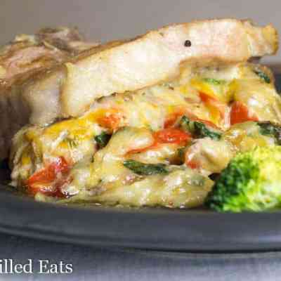 Cheesy Spinach Pepper & Onion Stuffed Pork Chops