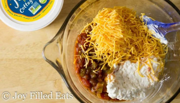 Easy Taco Casserole Recipe ingredients in a large glass bowl