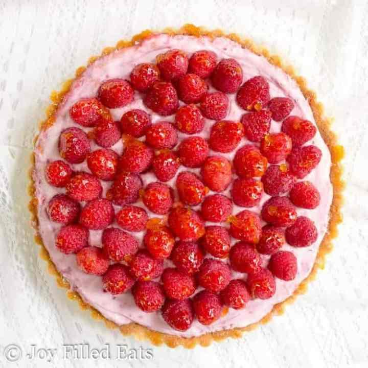 overhead shot of the raspberry mousse tart
