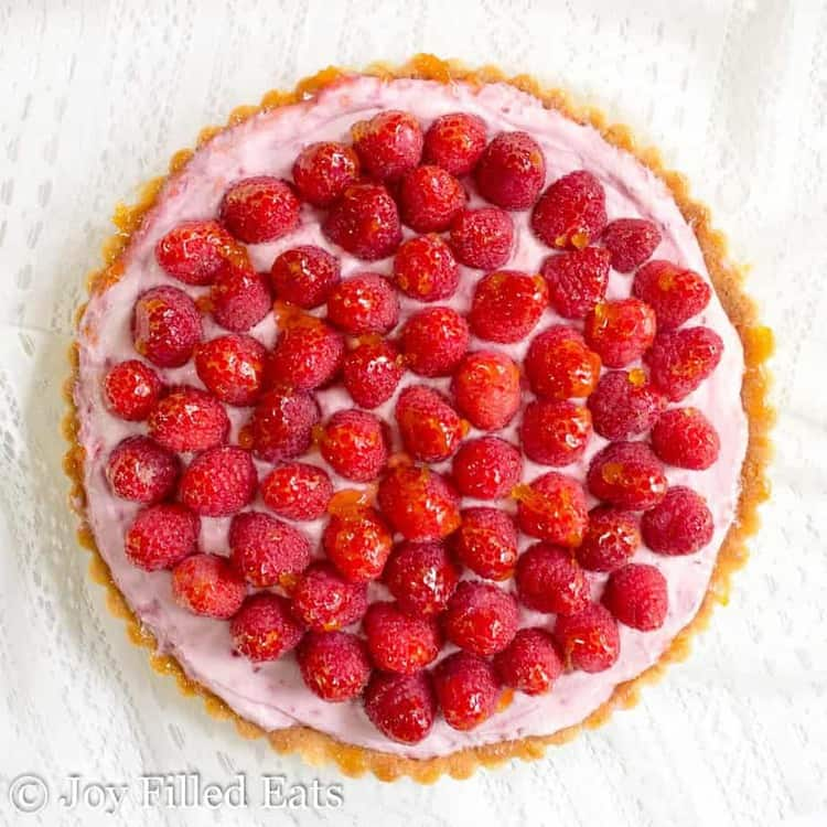 overhead shot of the raspberry mousse tart