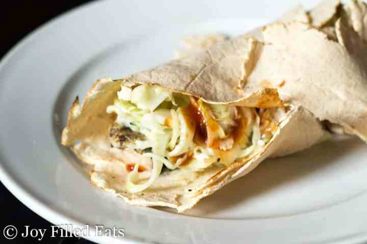 easy coleslaw in a coconut flour wrap with bbq chicken