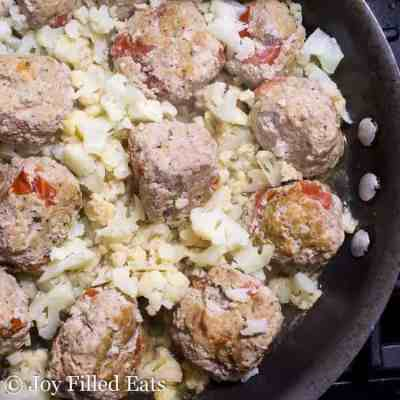 Skillet Basil & Tomato Meatballs – Low Carb, Grain Free, THM S