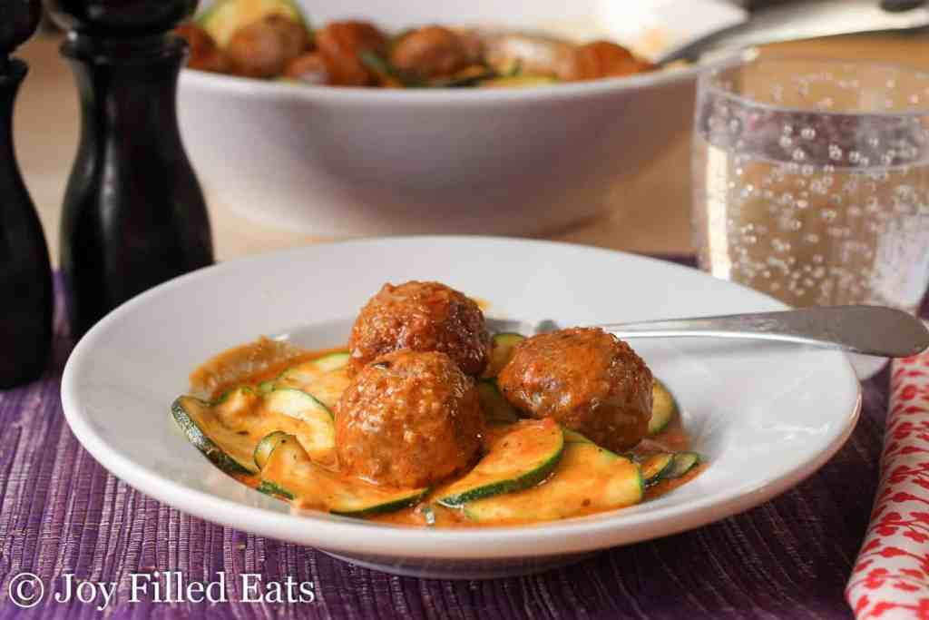 Easy One Pot Meatballs with Zucchini & Mascarpone - Low Carb, Grain Free, THM S