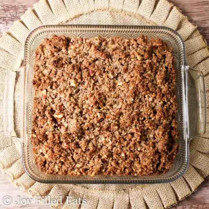 Cinnamon Pecan Crumb Cake in a glass baking dish