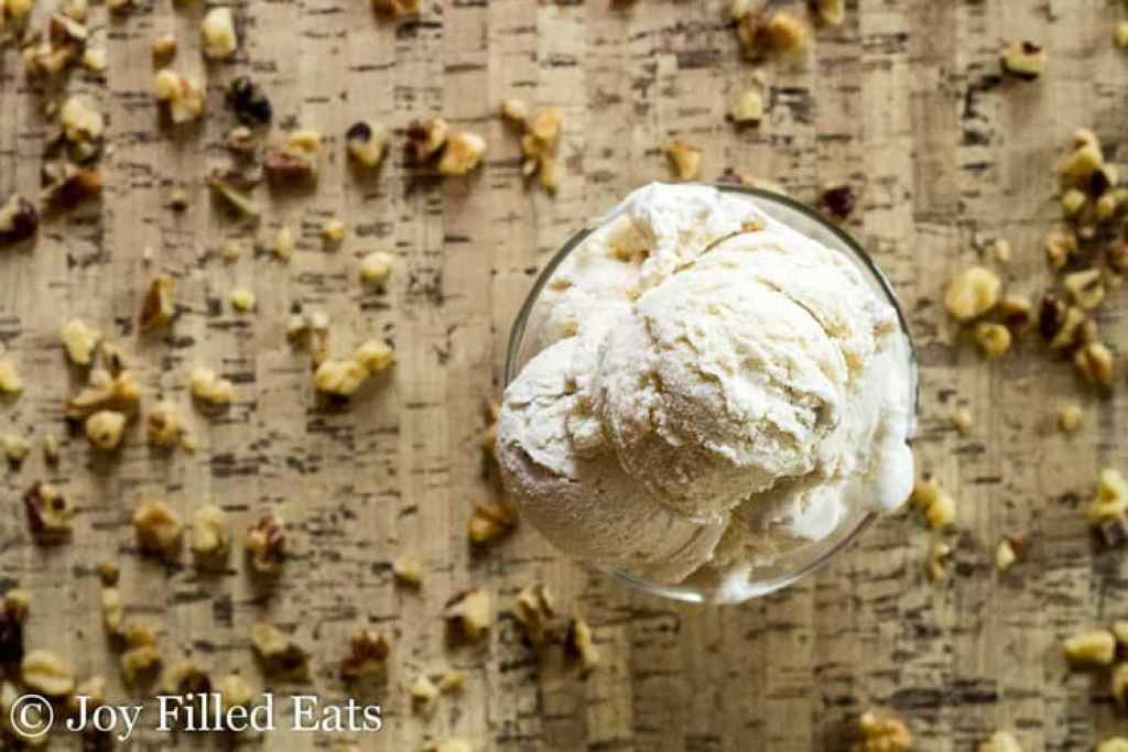 Maple Ice Cream with Candied Walnuts - Low Carb, Sugar Free, THM S, Keto