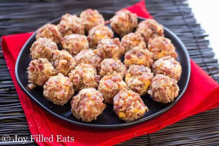Bacon Cheddar Mini Cheese Balls on a black plate