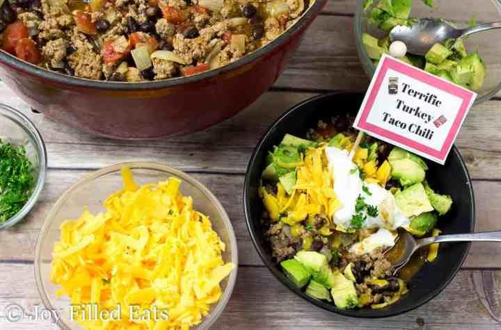 Terrific Turkey Taco Chili - Low Carb, Grain Gluten Free, THM S, Easy, Family Friendly
