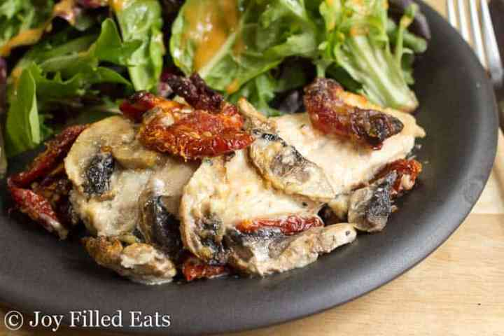 close up of the baked chicken breast