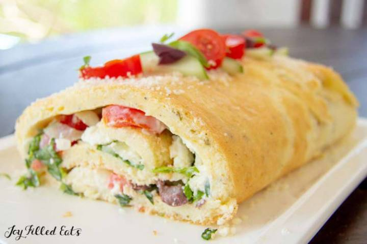 Greek Salad Roulade Recipe on a white platter