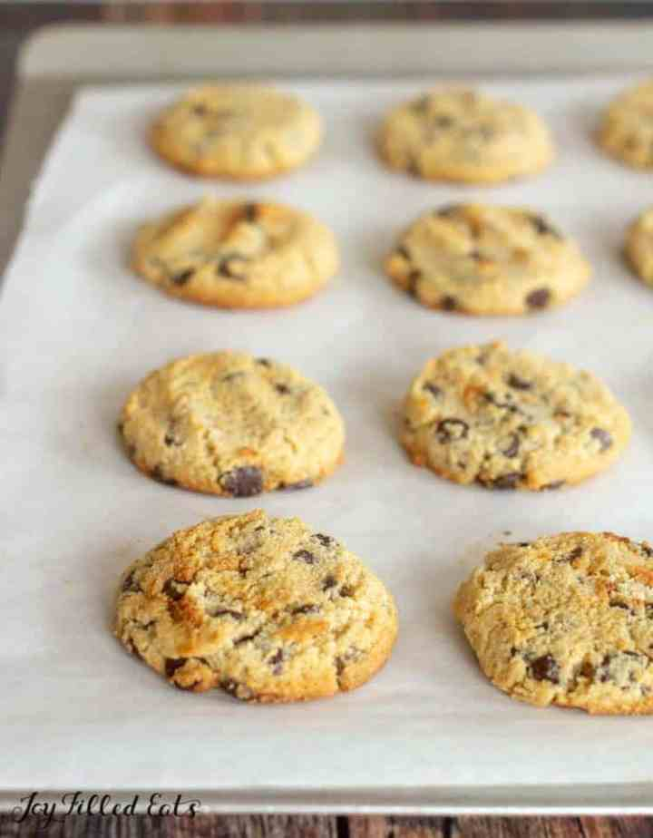 close up of the low carb chocolate chip cookies