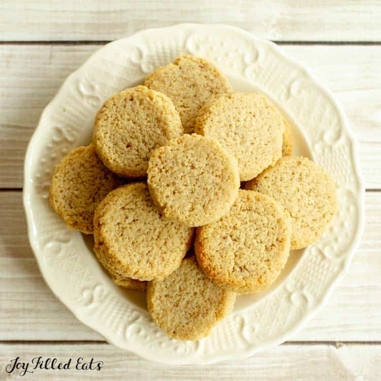 overhead shot of the ginger molasses cookies on a plate