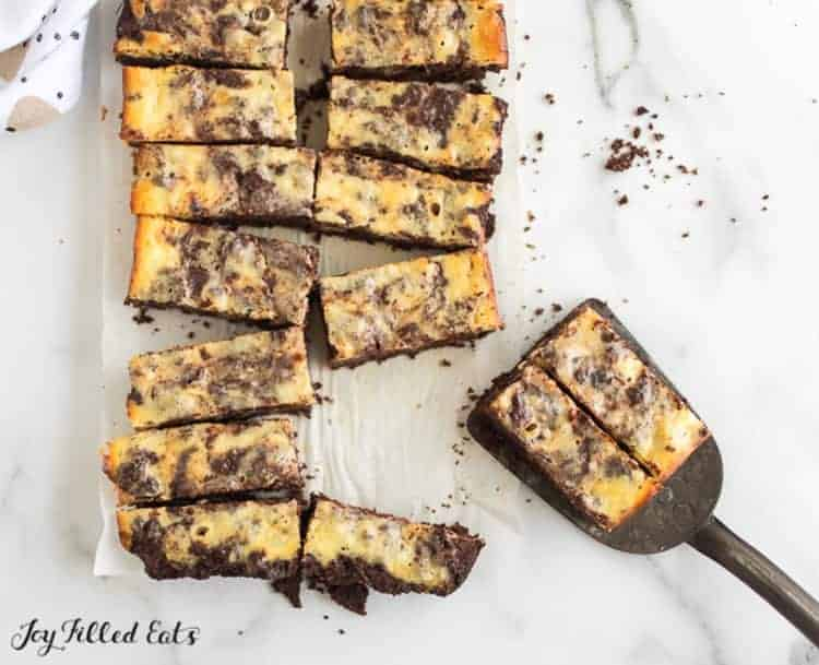 cheesecake brownies cut into bite sized pieces