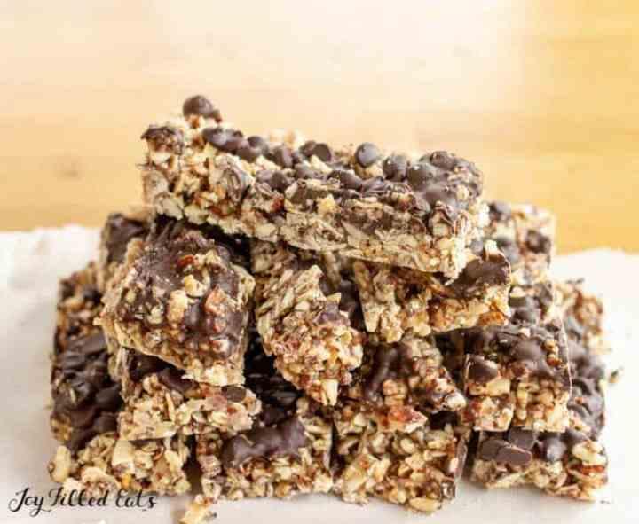 a stack of no bake keto granola bars