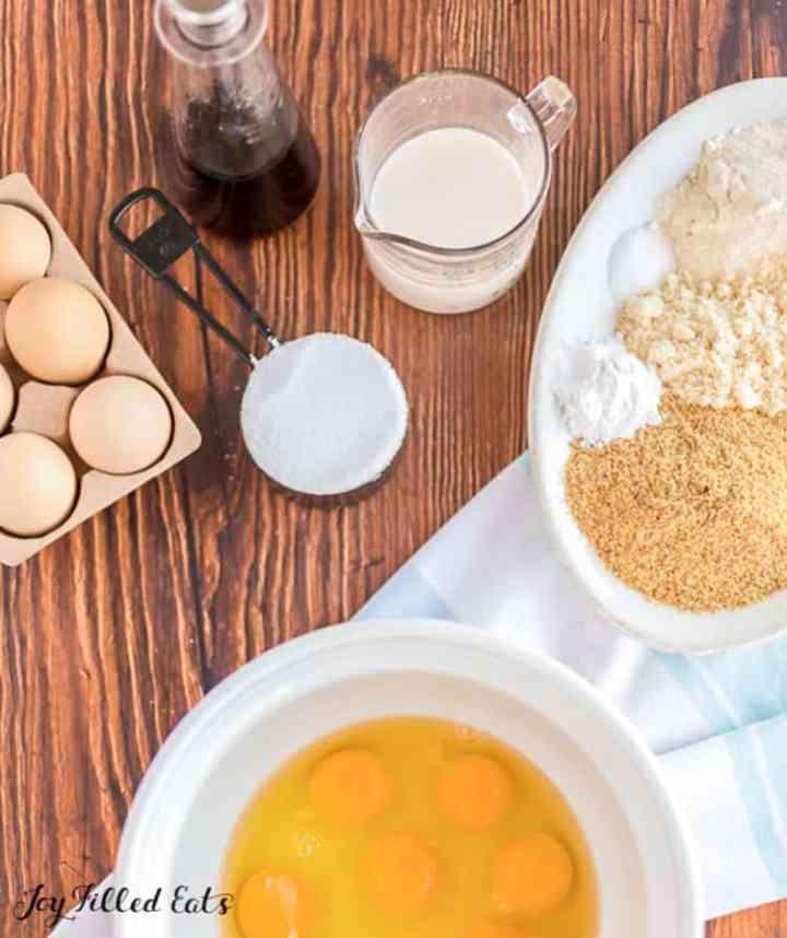 ingredients needed for tres leches cake recipe: eggs, sweetener, cream, flours