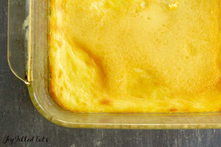 baked custard in a square glass baking dish