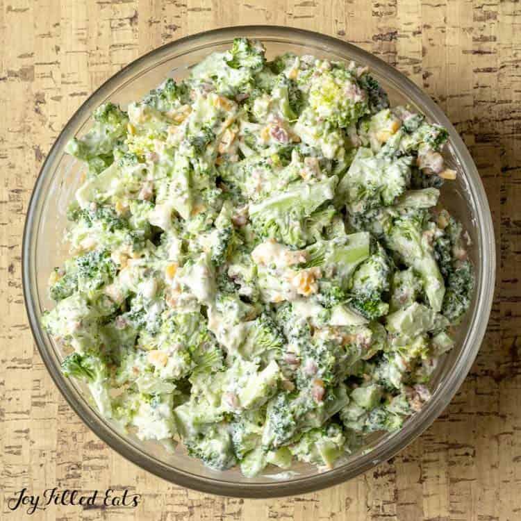 bowl of easy broccoli salad with bacon