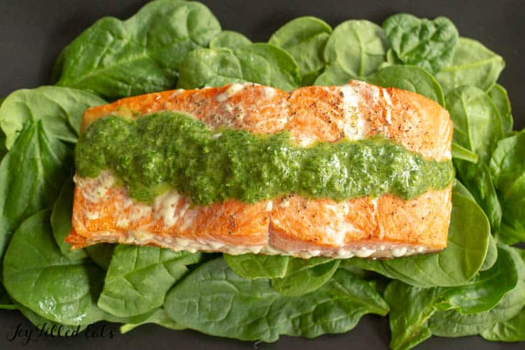 overhead shot of pesto salmon on a bed of lettuce