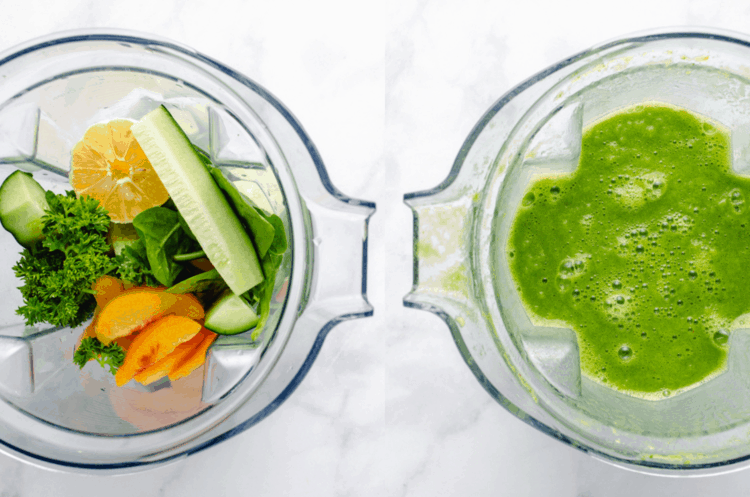 two shots of a blender, one with ingredients, one blended smooth