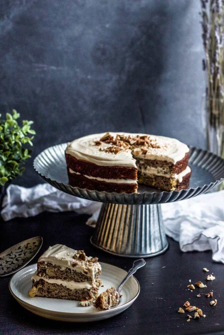 low carb almond flour cake on a cake stand