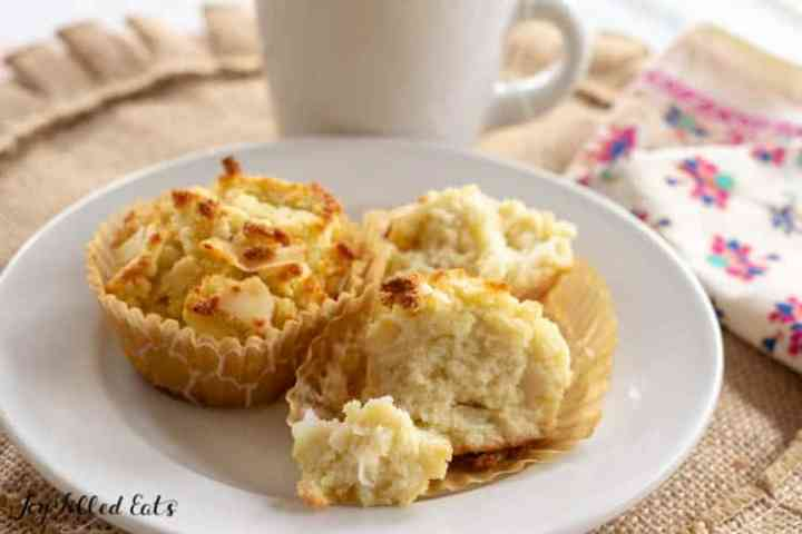 coconut flour muffins on a white plate