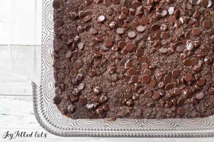 baked low carb brownies in glass dish