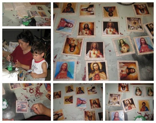 sacred heart tile collage