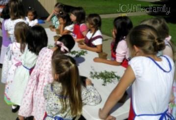 girls working on topiaries