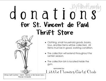 Lenten Donation Drive handout pic