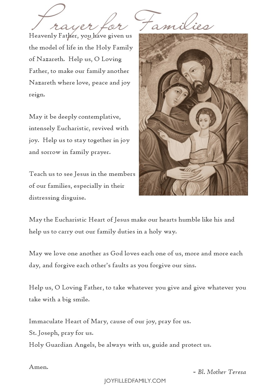 photograph regarding Printable Prayer to St. Joseph identify Holy Spouse and children of Nazareth