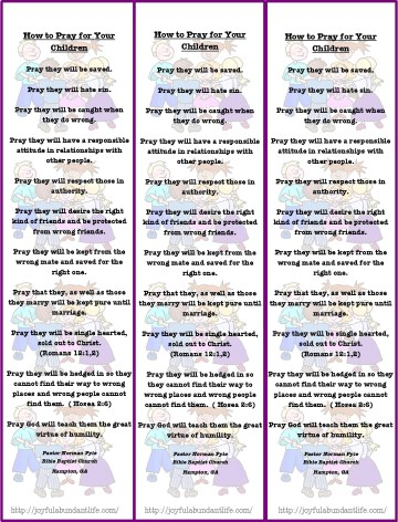 How to pray for children bookmark 2