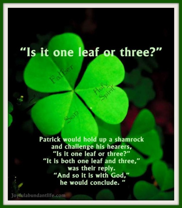 St. Patrick would often use the three leaf clover to teach the trinity. God is three in one.