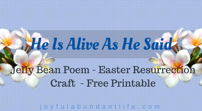 Jelly Bean Poem – Easter Resurrection Craft