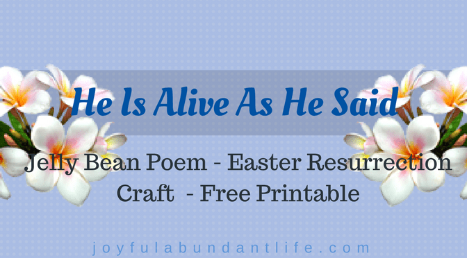 Jelly Bean Poem – Easter Resurrection Craft