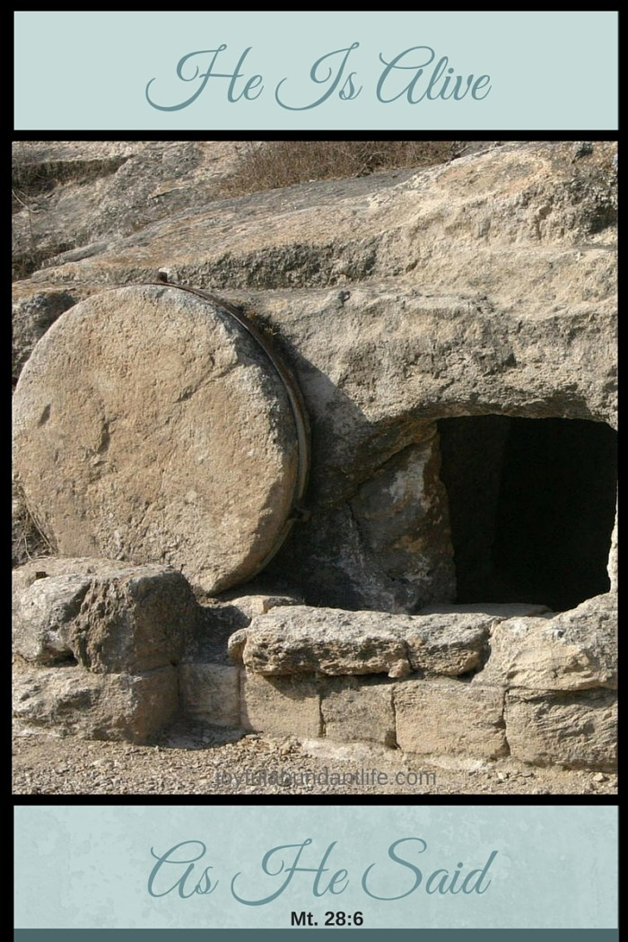 He Is Alive As He Said Mt. 28:6 Easter Resurrection Bible Lesson and freebie
