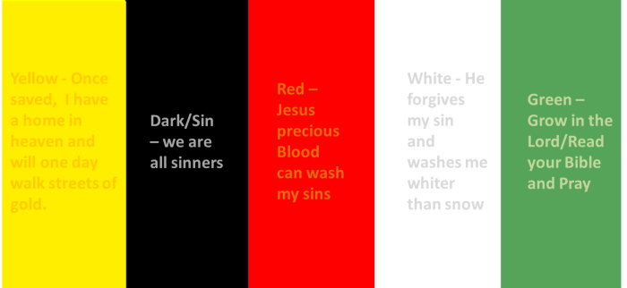 The Colors of the Wordless Book and their meanings - a good witnessing tool for anyone
