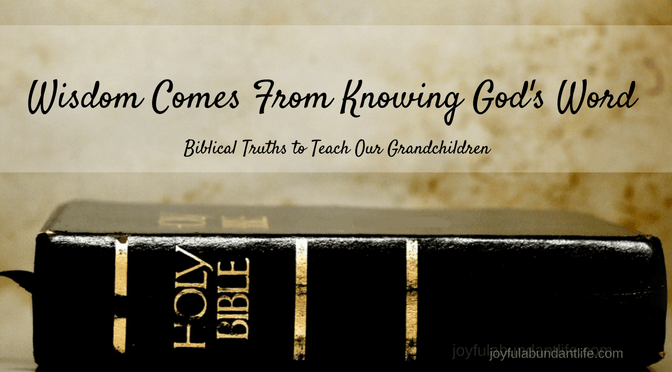 Instilling Biblical Truths into my Grandchildren – Wisdom comes from Knowing God's Word