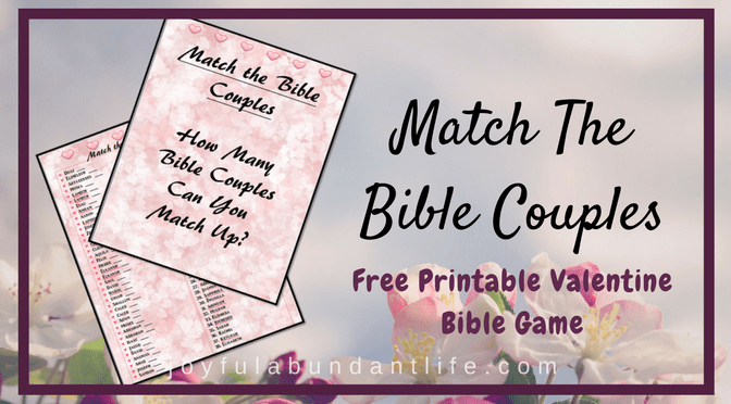 Match the Bible Couples Free Printable Valentine Game