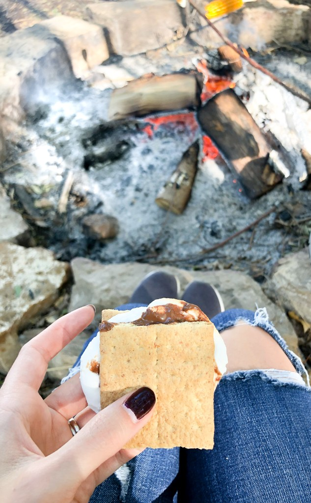 Making s'mores at the Covered Bridge Pumpkin Patch