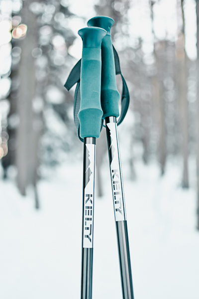 Snowshoeing poles stuck in the snow in Colorado aspens
