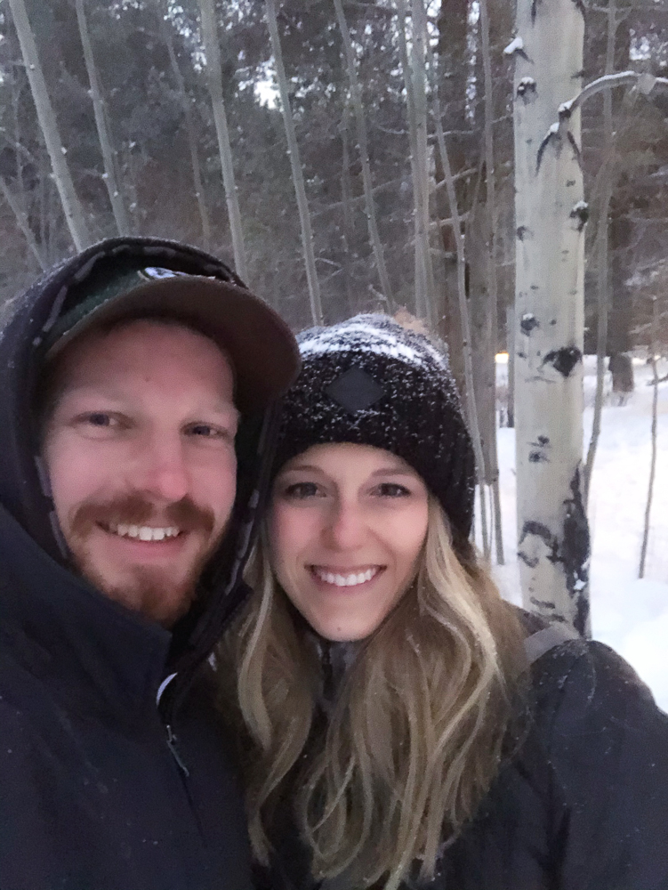 Selfie of Amy and Nathan at ceremony site at Warren Station in Keystone, CO