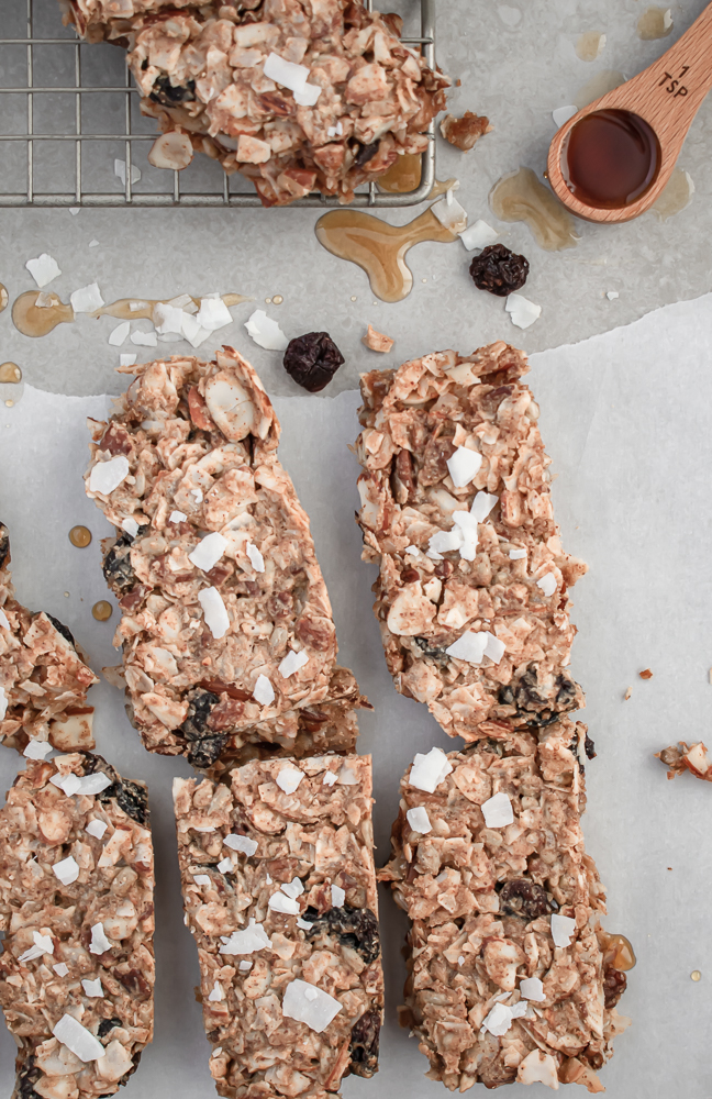 Homemade Healthy Granola Bars slices on parchment paper