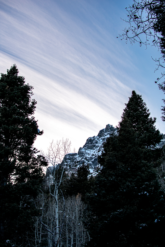 Sunset in Ouray, Colorado while snowshoeing