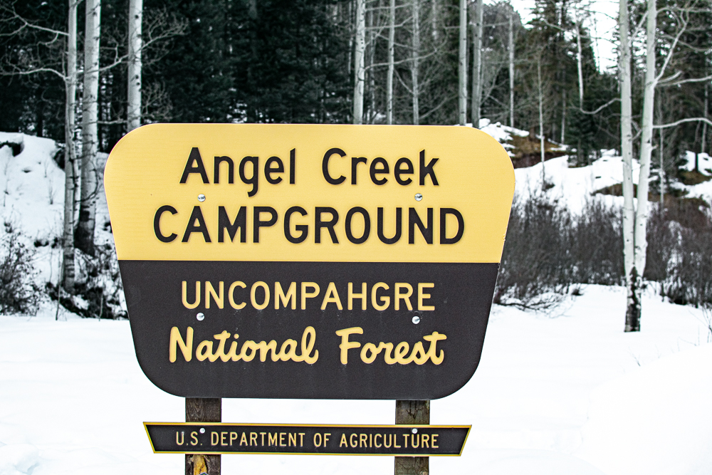 Angel Creek Campground Snowshoeing Area Sign