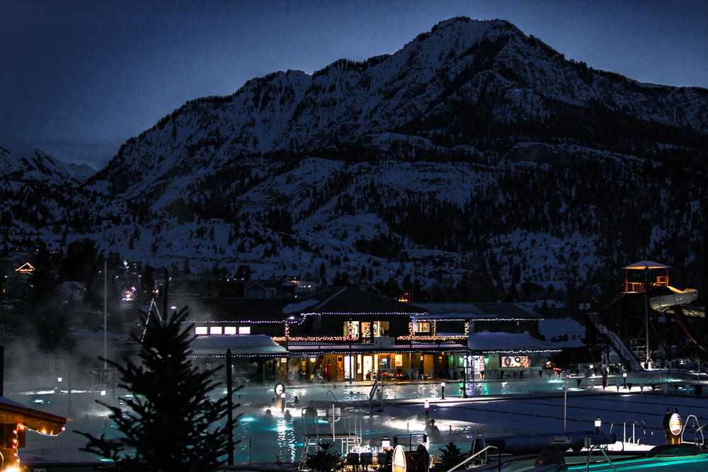 Ouray Hot Springs at night