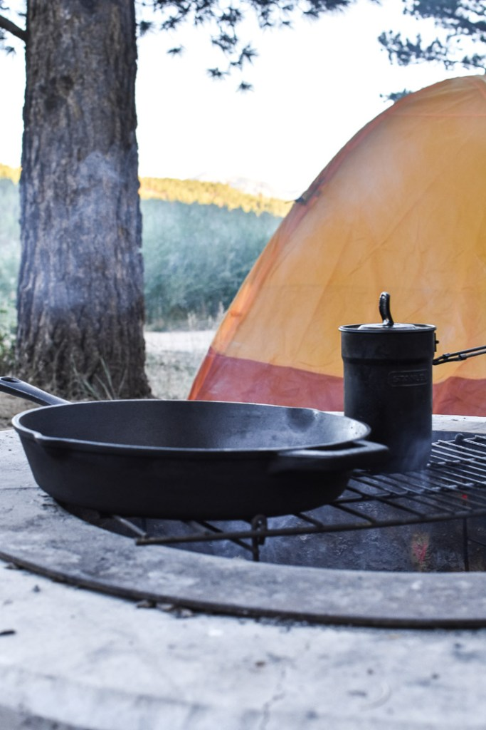 Lodge cast iron skillet on a campfire