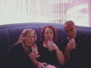 Drinking our matching mules at the Chandelier Bar in the Cosmopolitan - with Juleslovestoread and Rick R. Reed