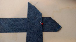 Two bias strips laid on top at a 90 degree angle