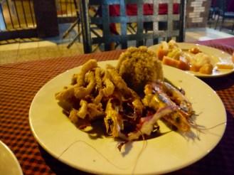 Calamari, prawns and rice